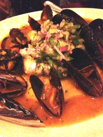 Zucchini & caper filled garfish potato puree, mussels, fagolini, allo safferano