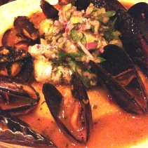 Zucchini & caper filled garfish potato puree, mussels, fagolini, allo safferano