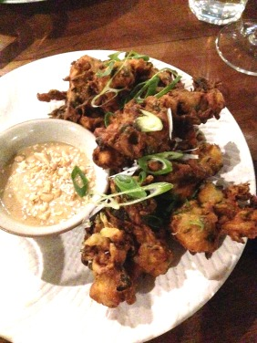 Sweet Corn and Spring Onion Fritters, coriander, peanut and tahini