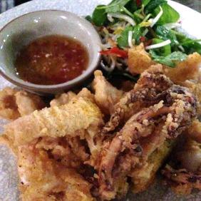Crispy SA Chilli Salt Squid, palm sugar, lemongrass and lime dipping sauce