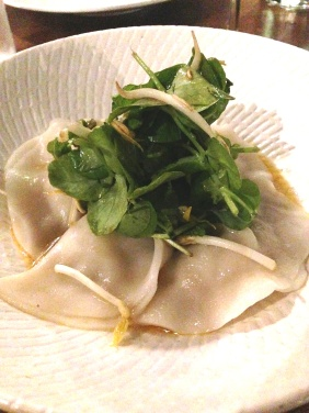 Steamed Chicken Dumplings with laksa inspired emulsion