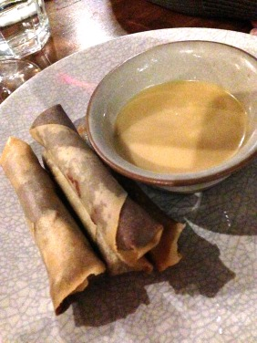 Ferrero Rocher Spring Rolls with orange coulis