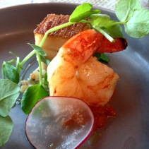 Pork belly, kimchi, prawn and pear slaw from La Bonne Table, Adelaide