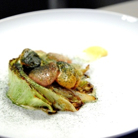 Cabbage, mussel butter, bone marrow, pomelo