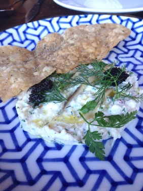 Blue Swimmer Crab with fennel lavosh and caviar