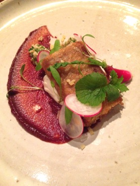 Boer goat in brik pastry, date, smoked yoghurt, bulgar wheat salad