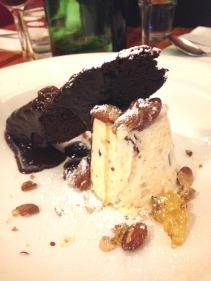 White Toblerone and orange semifreddo and warm chocolate cake