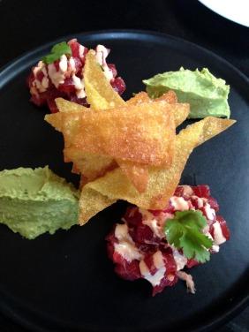 Tuna Nachos with Sriracha Mayo and Wasabi