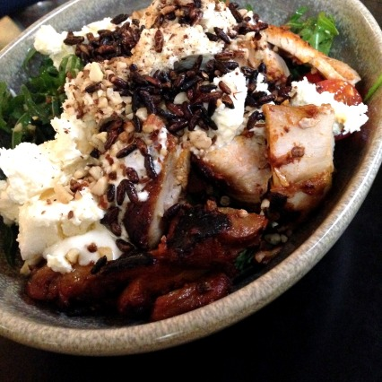 Adobo Chicken Salad with Feta, Dukkah and Brown Rice
