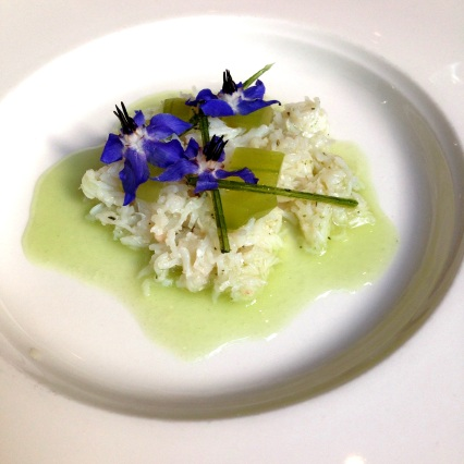 Snow crab, pressed cucumber, kaffir lime and angelica