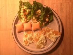 Curried egg, salt and vinegar cracker cheese puff
