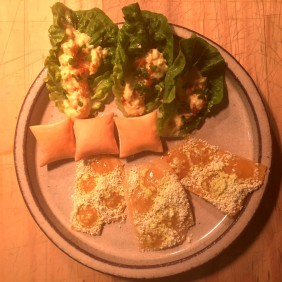 Curried egg, salt and vinegar cracker cheese puff
