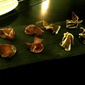 Macabee Dorper Lamb Proscuitto / pork Coppa with cucumber