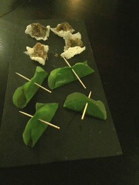 Fremantle tuna tartare wrapped in nasturtium leaf / mojama(air dried Yellowfin tuna) with bottarga and basmati cracker