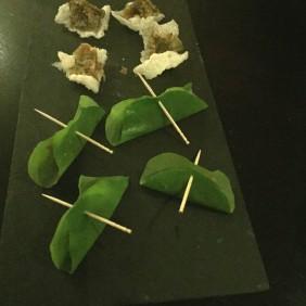 Fremantle tuna tartare wrapped in nasturtium leaf / mojama(air dried Yellowfin tuna) with bottarga and basmati cracker