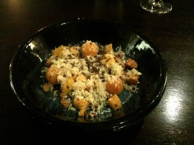 Pumpkin, aerated purée, sourdough and chorizo crumb, linseed, walnut, Parmesan