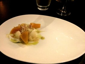 Golden beetroot, puffed buckwheat, apple purée, citrus fennel