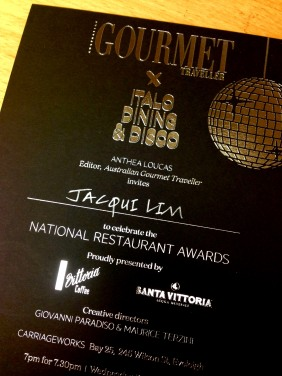 Invitation to the Gourmet Traveller Restaurant Awards - a definite highlight!