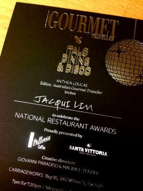 Invitation to the Gourmet Traveller Restaurant Awards - a definite highlight!
