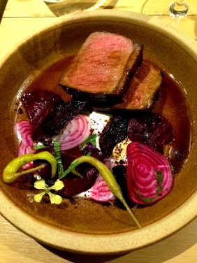 Seared rare beef, beetroot and yoghurt