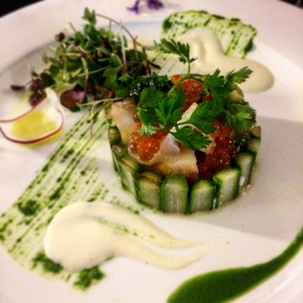 Turnip mousse with abalone, scallop and lobster by Ironchef Hiroyuki Sakai