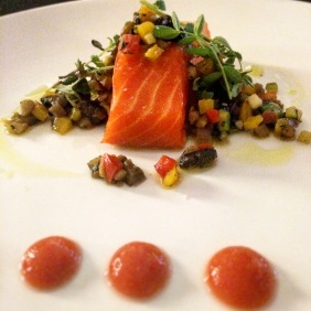 Confit ocean trout with ratatouille and Asian gazpacho foam by Ikuei Arakane