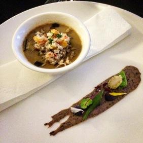 Crab chawanmushi with black rice tuille by Kazuki Ushiro