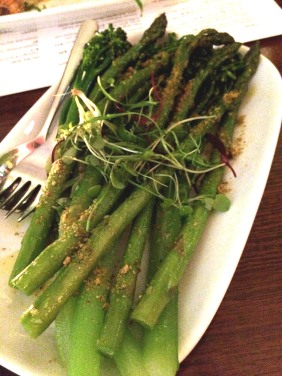 Asparagus and broccolini with pistachio picada