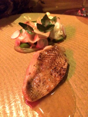 Quail cooked over charcoal, asparagus, SA abalone