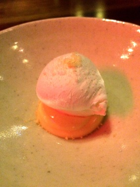 Lemon curd, rice pudding, meringue