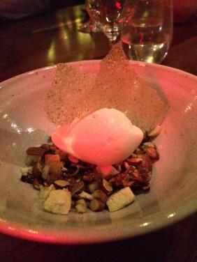 Milk ice cream, roasted Willunga almonds, dried fig and pear