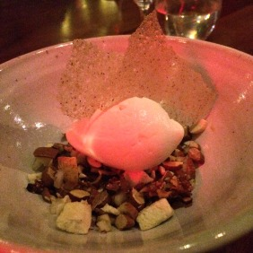 Milk ice cream, roasted Willunga almonds, dried fig and pear