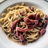 Spaghetti with octopus