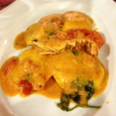 Ravioli with prawn sugo