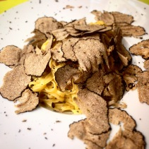 Egg pasta with lots of truffle from a truffle restaurant in Turin, Italy
