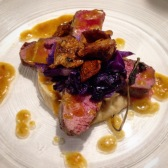 Lamb loin with celeriac, red cabbage and chanterelles