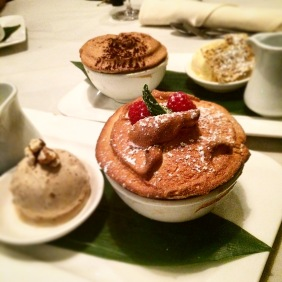 The soufflé double - Raspberry and Gorgonzola in the foreground