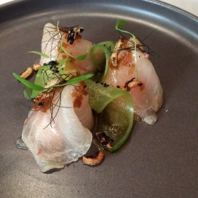 Cured swordfish, pickled cucumber, wasabi, soy and sesame, native finger lime from Ezard, Melbourne
