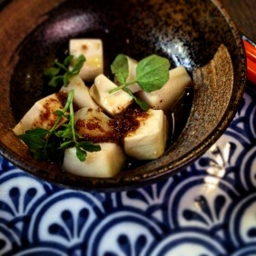 Warm scallop with silken tofu and soy butter