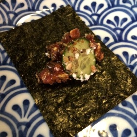 The Wagyu tartare on nori