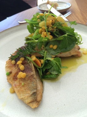 Local Tommy Ruffs, snowpeas, yellow split peas and vegetable escabeche