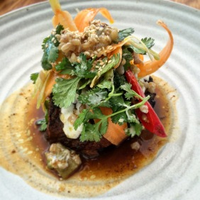 Slow cooked Hutton Vale lamb shoulder, Farmer Hayden's carrots, pickled chilli and yoghurt