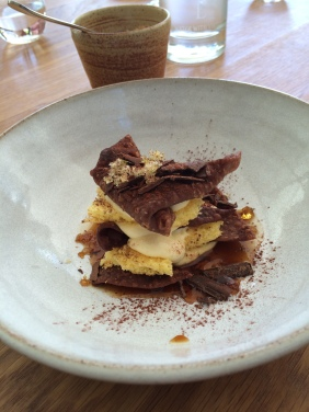 Chocolate crostoli, mascarpone, sponge and coffee syrup