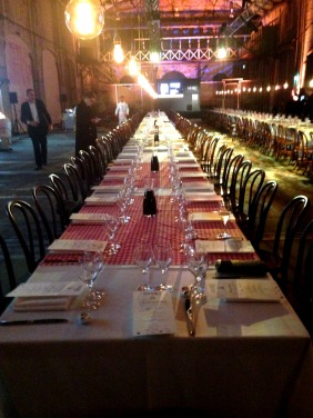 One of the 2 very long tables