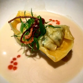 Steamed spanner crab dumplings, Yarra Valley salmon roe, chervil, coconut tom kha