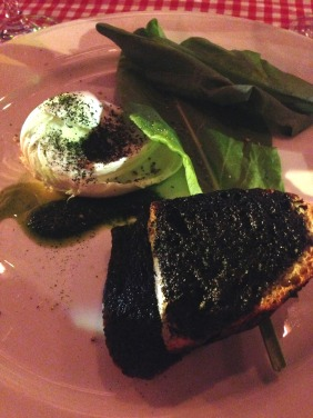 Buffalo mozzarella with black garlic bread