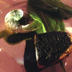 Buffalo mozzarella with black garlic bread