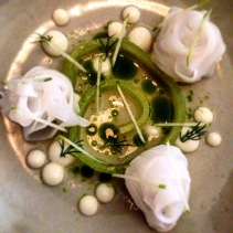 Sous vide calamari, fermented apple juice, oyster cream, salted cucumber and dill oil by Dave Verheul, The Town Mouse, Victoria