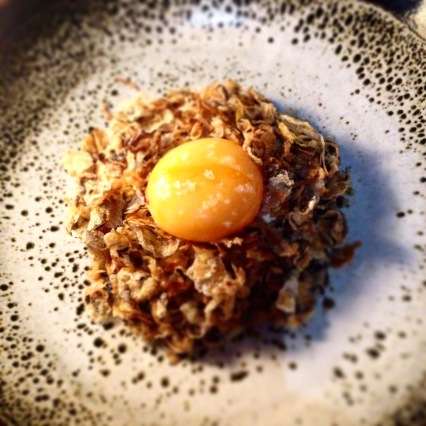 Smoked Blackmore Wagyu tartare, fermented chilli paste, puffed grains, mushrooms, sesame, seaweed, egg yolk