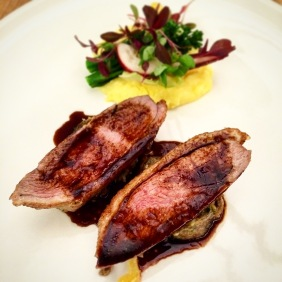 Lacquered duck breast with cinnamon, star anise, witlof and sauce arabica